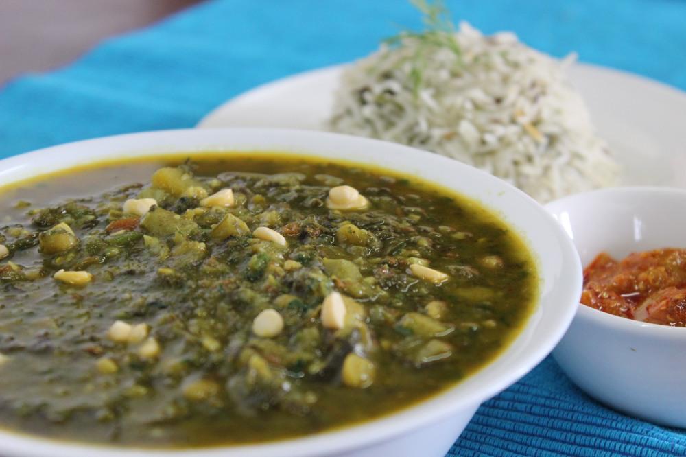 sai bhaji with dil pulao